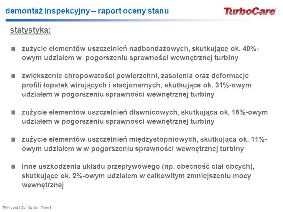 Privileged & Confidential – Page 8 demontaż inspekcyjny – raport oceny stanu statystyka: zużycie elementów uszczelnień nadbandażowych, skutkujące ok.