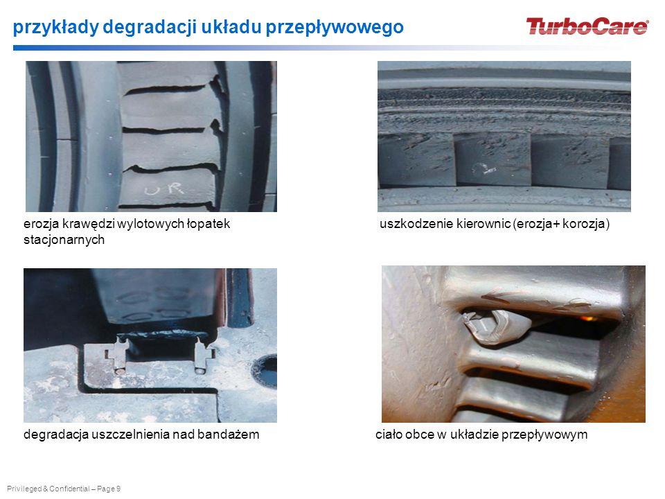 Privileged & Confidential – Page 9 przykłady degradacji układu przepływowego erozja krawędzi wylotowych łopatek stacjonarnych uszkodzenie kierownic (e