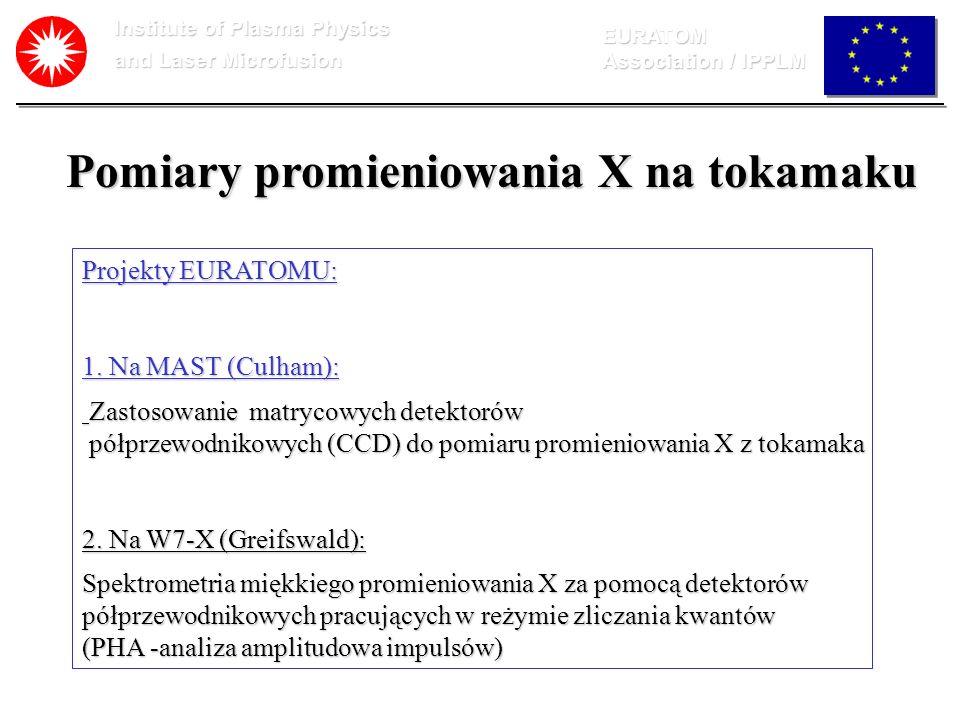 Institute of Plasma Physics and Laser Microfusion EURATOM Association / IPPLM Pomiary promieniowania X na tokamaku Projekty EURATOMU: 1. Na MAST (Culh