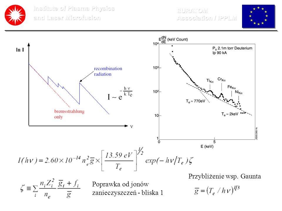 Institute of Plasma Physics and Laser Microfusion EURATOM Association / IPPLM Poprawka od jonów zanieczyszczeń - bliska 1 Przybliżenie wsp. Gaunta