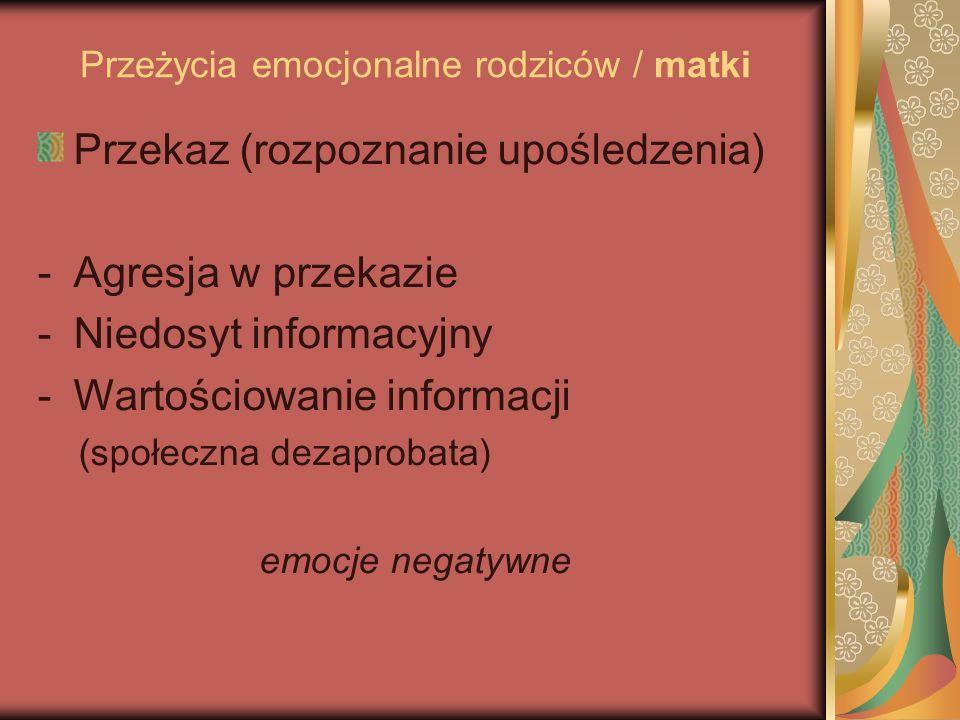 Przeżycia emocjonalne rodziców / matki Przekaz (rozpoznanie upośledzenia) -Agresja w przekazie -Niedosyt informacyjny -Wartościowanie informacji (społeczna dezaprobata) emocje negatywne
