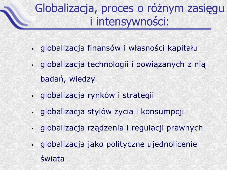 Globalizacja, proces o różnym zasięgu i intensywności: globalizacja finansów i własności kapitału globalizacja technologii i powiązanych z nią badań,