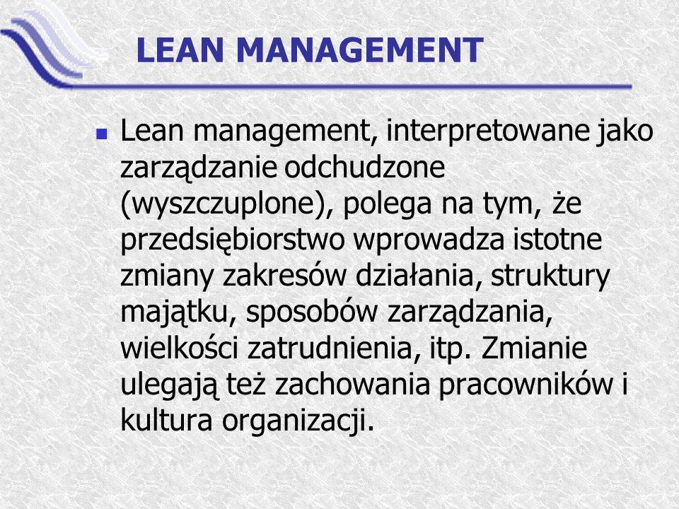 LEAN MANAGEMENT Lean management, interpretowane jako zarządzanie odchudzone (wyszczuplone), polega na tym, że przedsiębiorstwo wprowadza istotne zmian