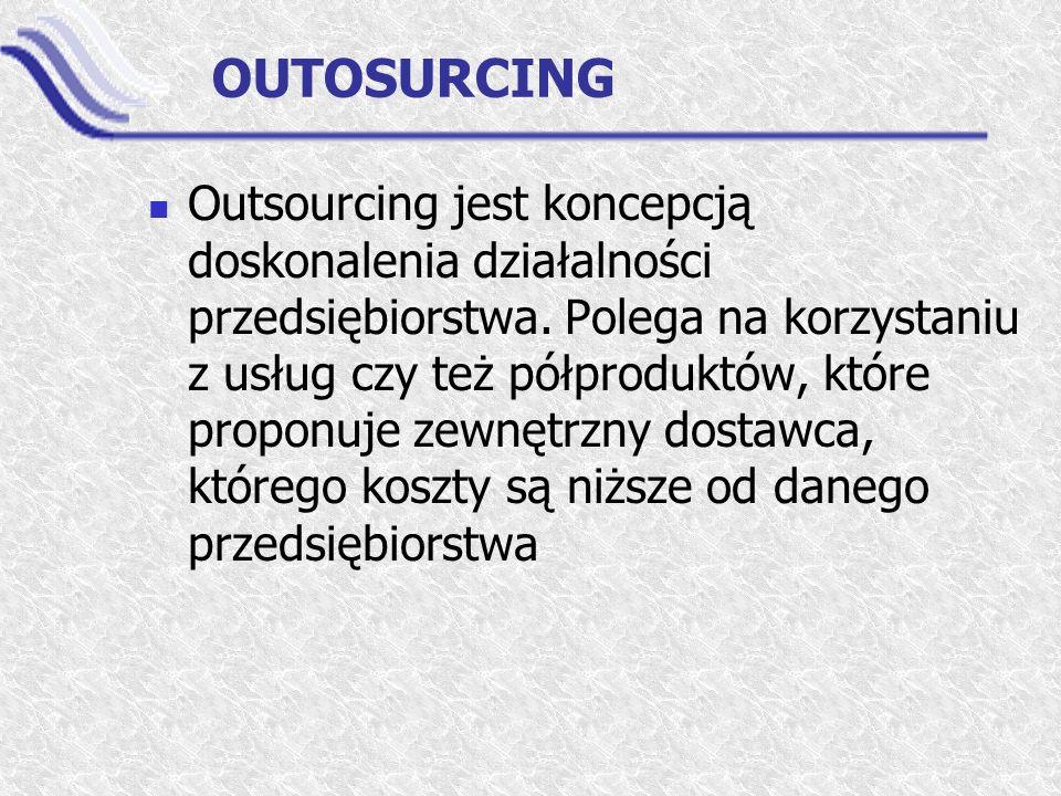OUTOSURCING Outsourcing jest koncepcją doskonalenia działalności przedsiębiorstwa. Polega na korzystaniu z usług czy też półproduktów, które proponuje