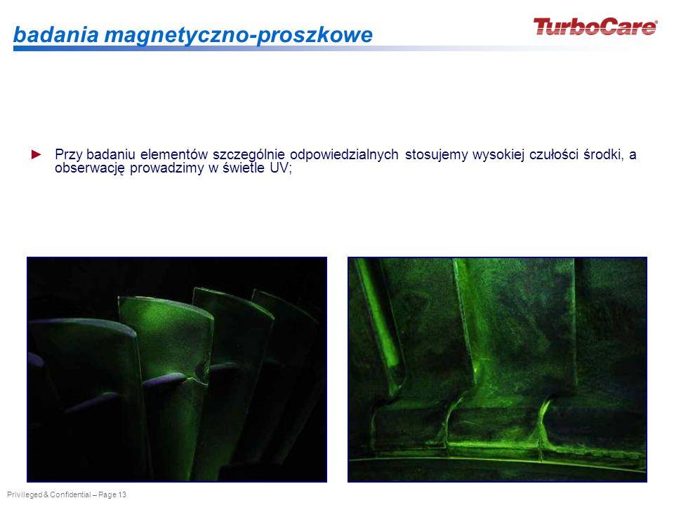 Privileged & Confidential – Page 13 badania magnetyczno-proszkowe Przy badaniu elementów szczególnie odpowiedzialnych stosujemy wysokiej czułości środ