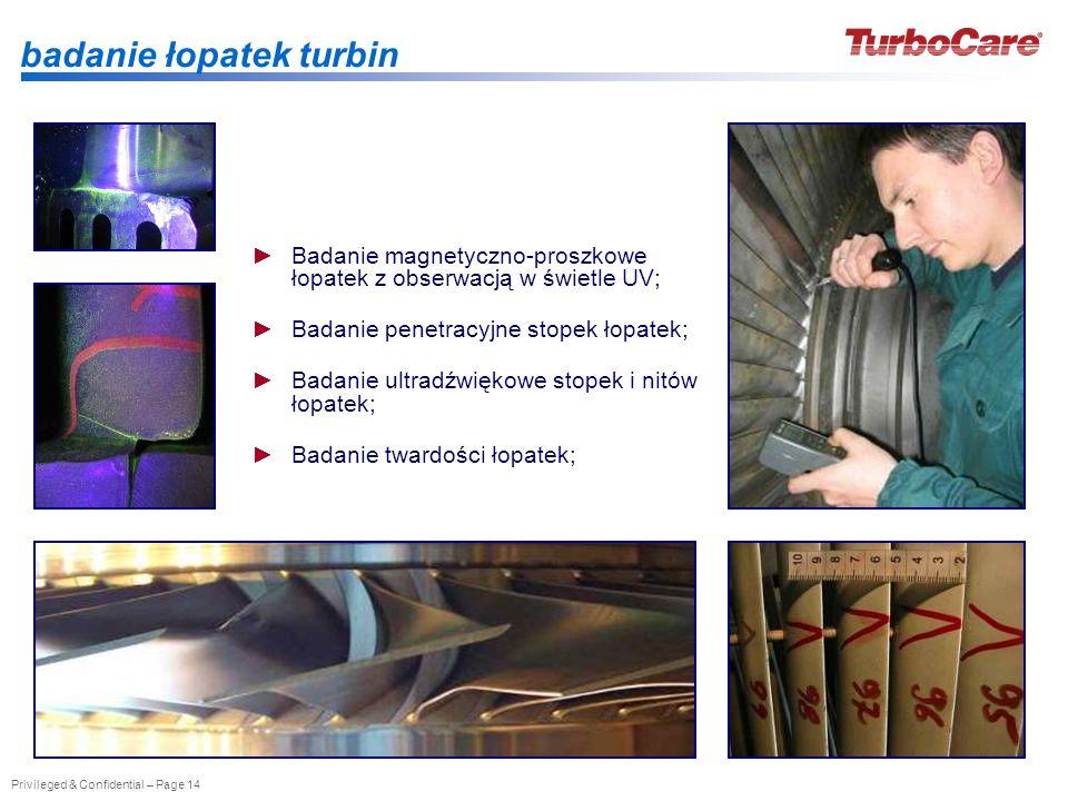 Privileged & Confidential – Page 14 badanie łopatek turbin Badanie magnetyczno-proszkowe łopatek z obserwacją w świetle UV; Badanie penetracyjne stope