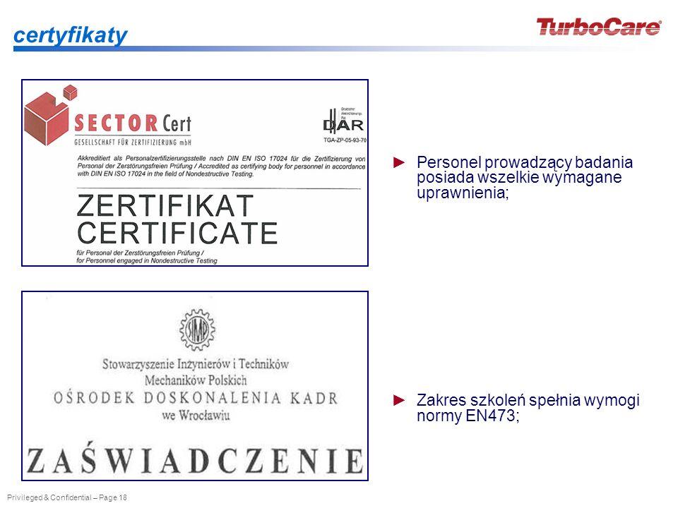 Privileged & Confidential – Page 18 certyfikaty Personel prowadzący badania posiada wszelkie wymagane uprawnienia; Zakres szkoleń spełnia wymogi normy
