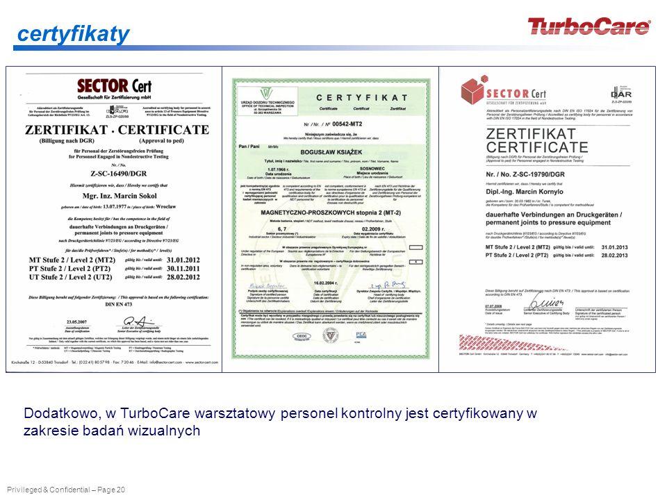 Privileged & Confidential – Page 20 certyfikaty Dodatkowo, w TurboCare warsztatowy personel kontrolny jest certyfikowany w zakresie badań wizualnych