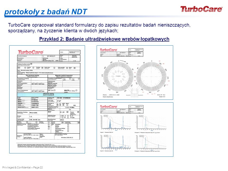 Privileged & Confidential – Page 22 protokoły z badań NDT Przykład 2: Badanie ultradźwiękowe wrębów łopatkowych TurboCare opracował standard formularz