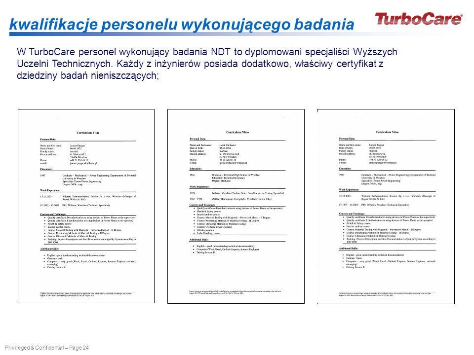 Privileged & Confidential – Page 24 kwalifikacje personelu wykonującego badania W TurboCare personel wykonujący badania NDT to dyplomowani specjaliści