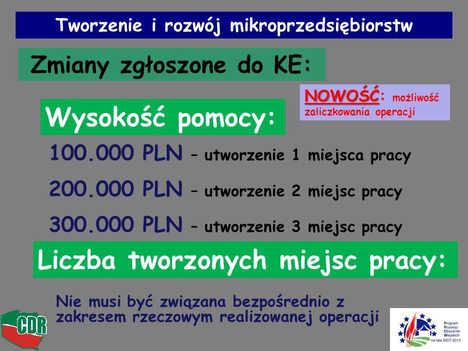 Tworzenie i rozwój mikroprzedsiębiorstw Zmiany zgłoszone do KE: Wysokość pomocy: 100.000 PLN – utworzenie 1 miejsca pracy 200.000 PLN – utworzenie 2 m