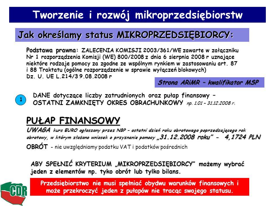 Tworzenie i rozwój mikroprzedsiębiorstw Jak określamy status MIKROPRZEDSIĘBIORCY: Podstawa prawna: Podstawa prawna: ZALECENIA KOMISJI 2003/361/WE zawa