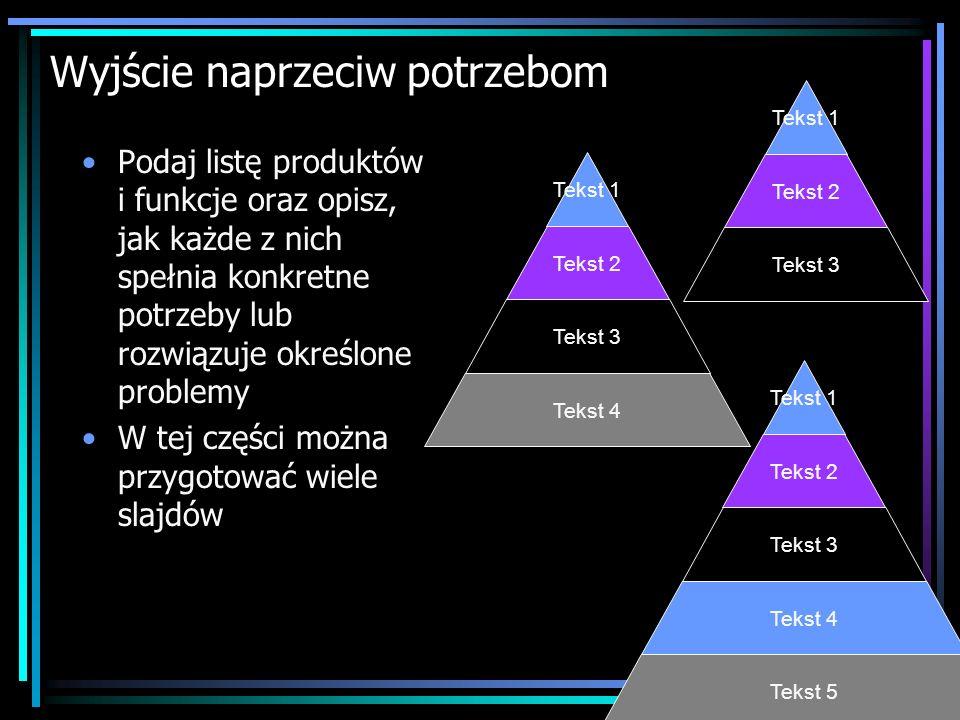 Wyjście naprzeciw potrzebom Podaj listę produktów i funkcje oraz opisz, jak każde z nich spełnia konkretne potrzeby lub rozwiązuje określone problemy W tej części można przygotować wiele slajdów Tekst 5 Tekst 4 Tekst 3 Tekst 2 Tekst 1 Tekst 4 Tekst 3 Tekst 2 Tekst 1 Tekst 3 Tekst 2 Tekst 1