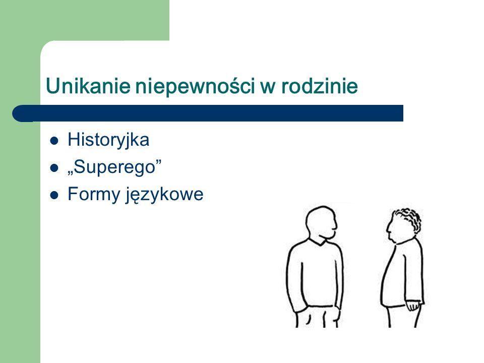 Unikanie niepewności w rodzinie Historyjka Superego Formy językowe
