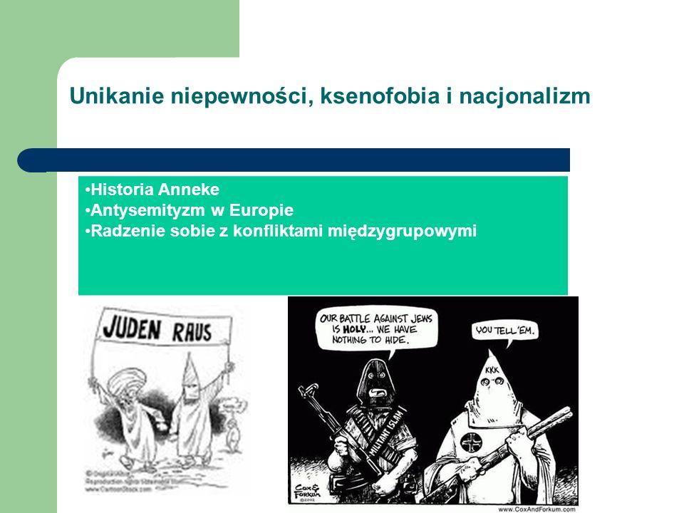 Unikanie niepewności, ksenofobia i nacjonalizm Historia Anneke Antysemityzm w Europie Radzenie sobie z konfliktami międzygrupowymi