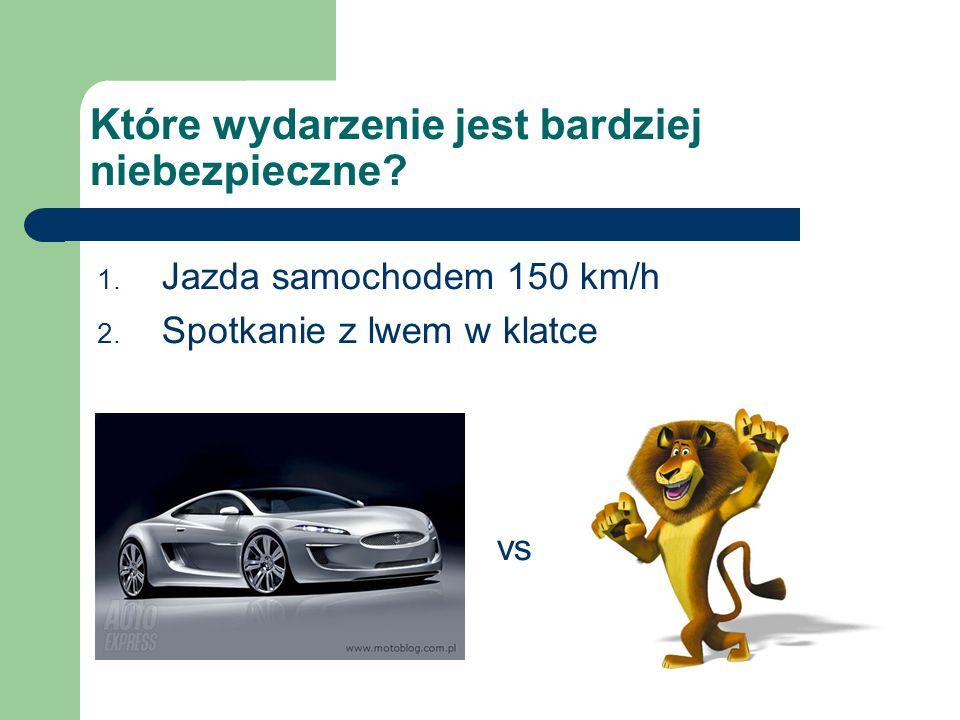 Które wydarzenie jest bardziej niebezpieczne? 1. Jazda samochodem 150 km/h 2. Spotkanie z lwem w klatce vs