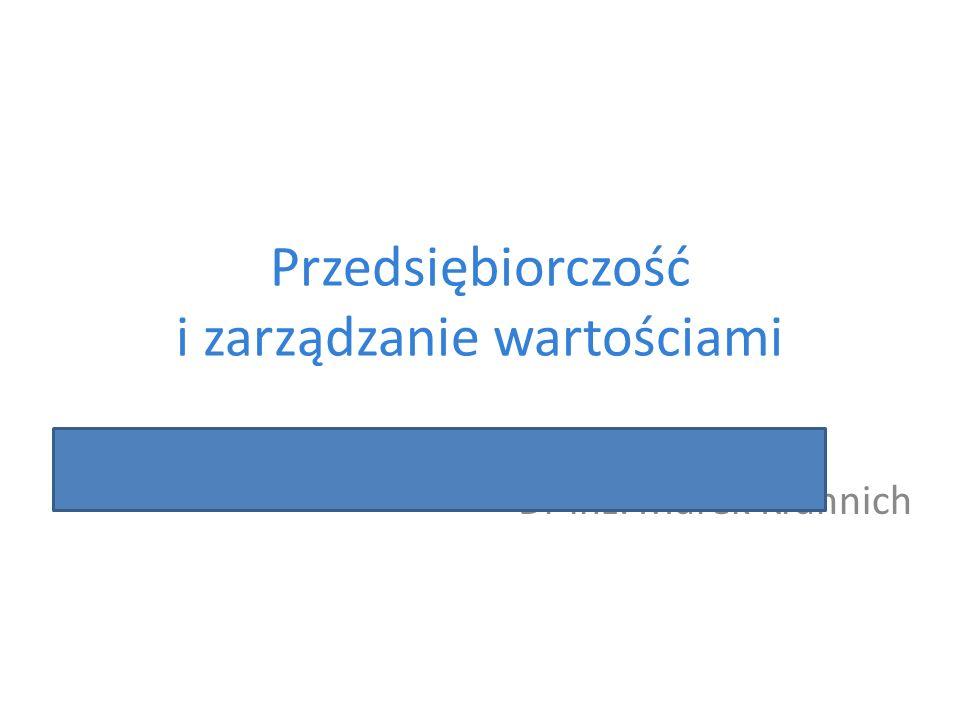 Przedsiębiorczość i zarządzanie wartościami Dr inż. Marek Krannich