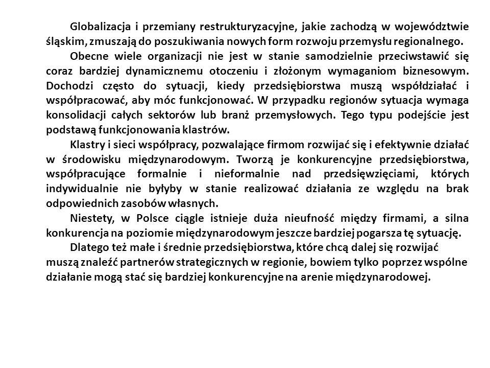 Globalizacja i przemiany restrukturyzacyjne, jakie zachodzą w województwie śląskim, zmuszają do poszukiwania nowych form rozwoju przemysłu regionalneg