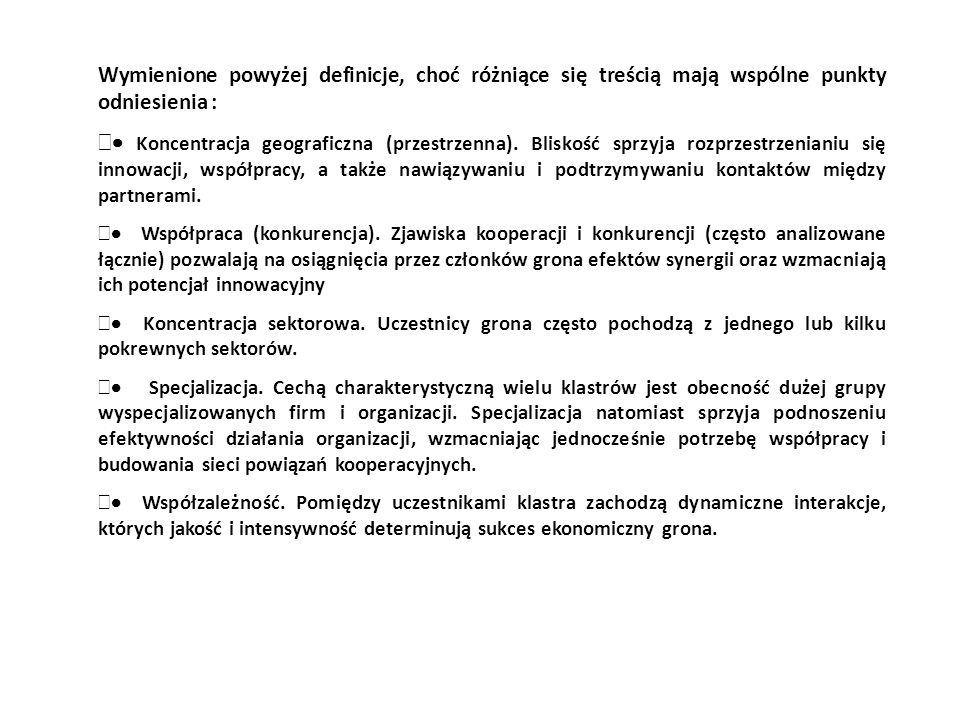 Wymienione powyżej definicje, choć różniące się treścią mają wspólne punkty odniesienia : Koncentracja geograficzna (przestrzenna). Bliskość sprzyja r