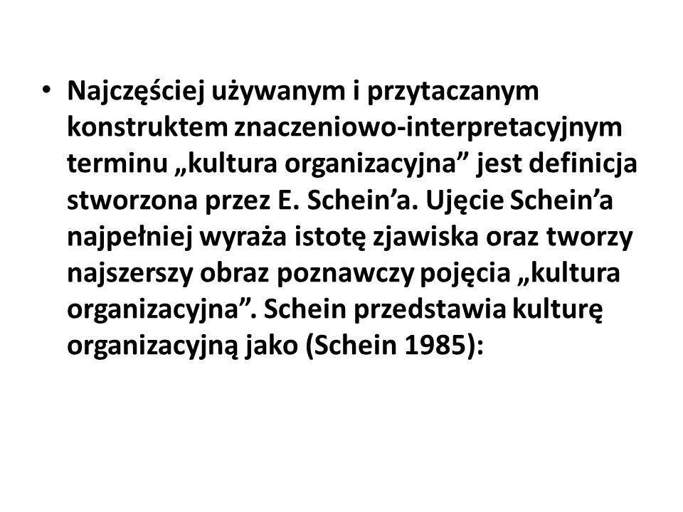 Najczęściej używanym i przytaczanym konstruktem znaczeniowo-interpretacyjnym terminu kultura organizacyjna jest definicja stworzona przez E. Scheina.