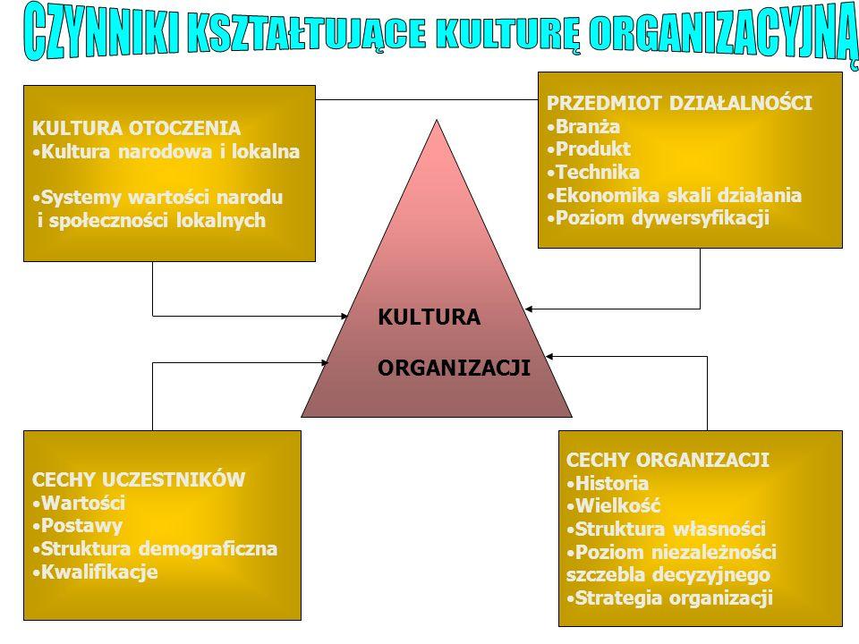 KULTURA OTOCZENIA Kultura narodowa i lokalna Systemy wartości narodu i społeczności lokalnych CECHY UCZESTNIKÓW Wartości Postawy Struktura demograficz