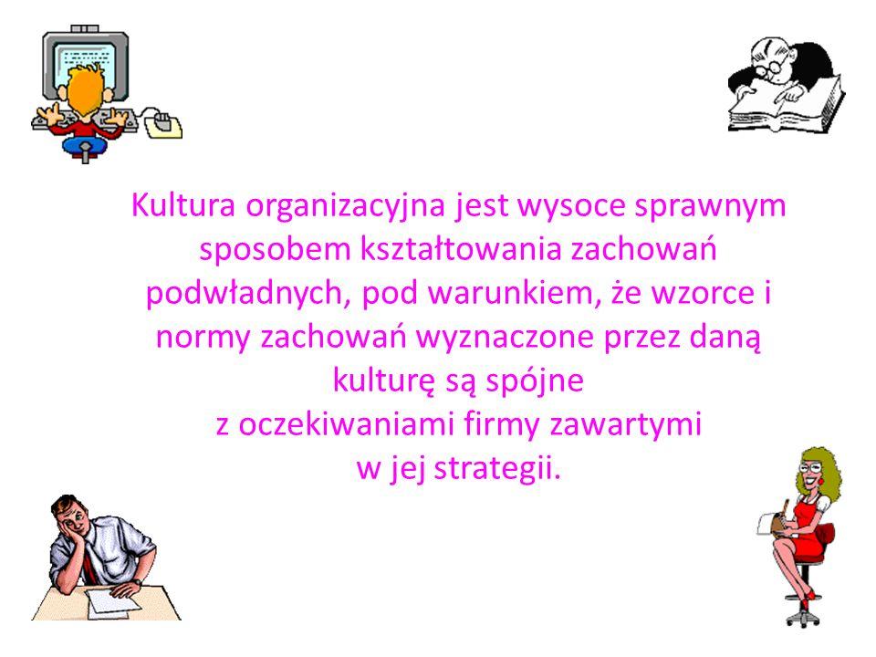 Kultura organizacyjna jest wysoce sprawnym sposobem kształtowania zachowań podwładnych, pod warunkiem, że wzorce i normy zachowań wyznaczone przez dan