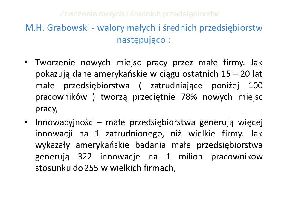 M.H. Grabowski - walory małych i średnich przedsiębiorstw następująco : Tworzenie nowych miejsc pracy przez małe firmy. Jak pokazują dane amerykańskie