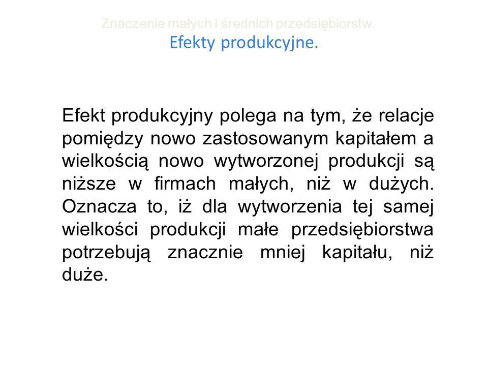 Efekty produkcyjne. Znaczenie małych i średnich przedsiębiorstw. Efekt produkcyjny polega na tym, że relacje pomiędzy nowo zastosowanym kapitałem a wi