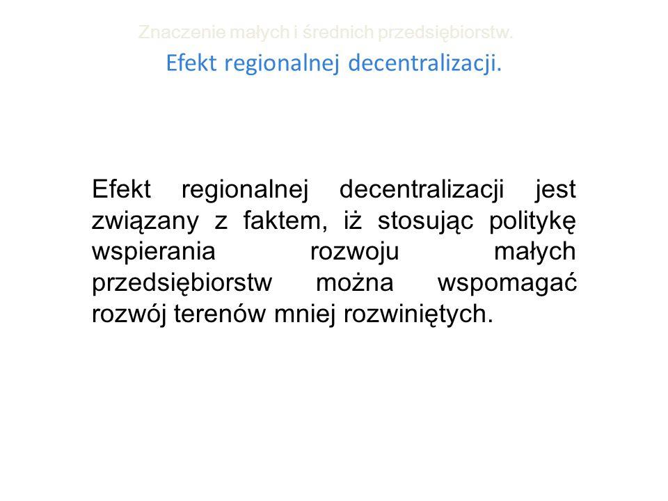 Efekt regionalnej decentralizacji. Znaczenie małych i średnich przedsiębiorstw. Efekt regionalnej decentralizacji jest związany z faktem, iż stosując
