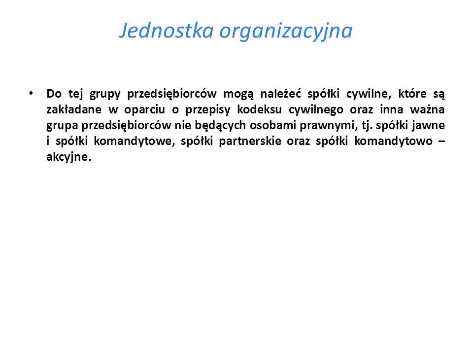 Jednostka organizacyjna Do tej grupy przedsiębiorców mogą należeć spółki cywilne, które są zakładane w oparciu o przepisy kodeksu cywilnego oraz inna