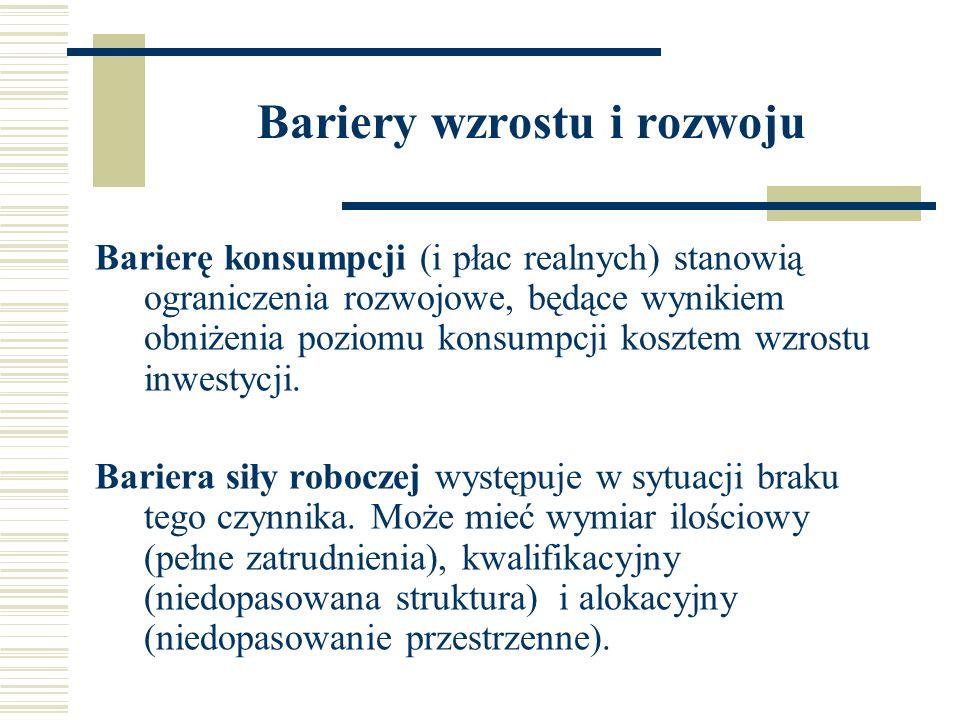 Bariery wzrostu i rozwoju Bariera surowcowa wiąże się z dostępnością do zasobów do zasobów bogactw naturalnych i ich wykorzystaniem.