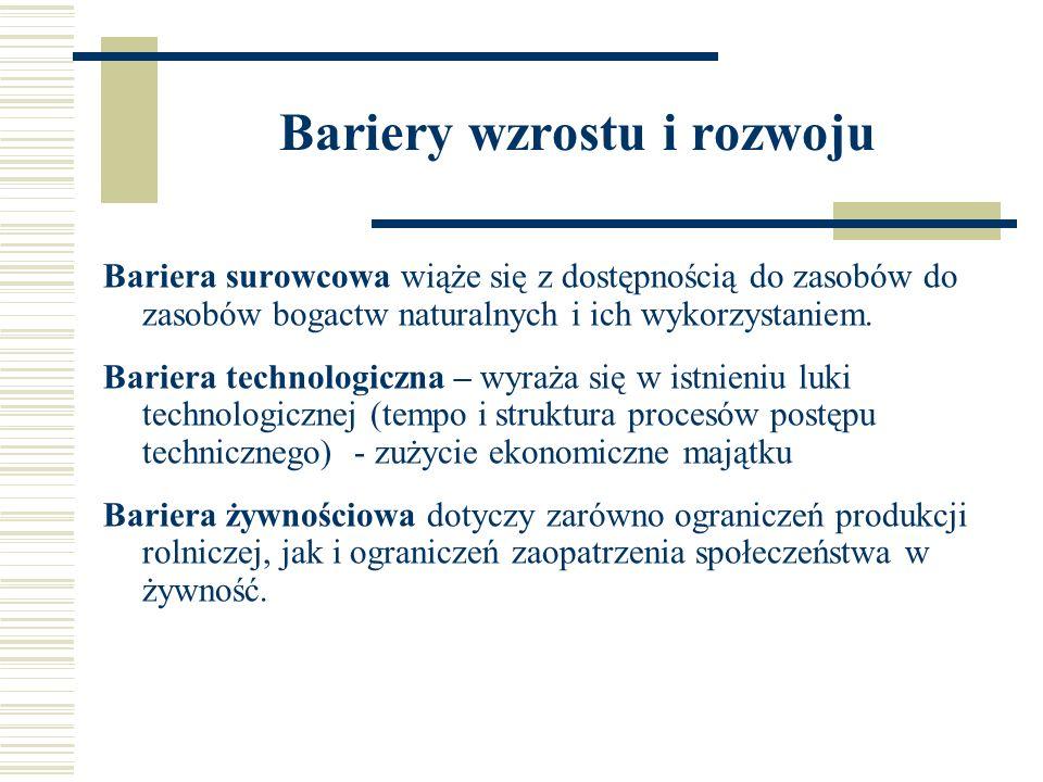Bariery wzrostu i rozwoju Bariera surowcowa wiąże się z dostępnością do zasobów do zasobów bogactw naturalnych i ich wykorzystaniem. Bariera technolog