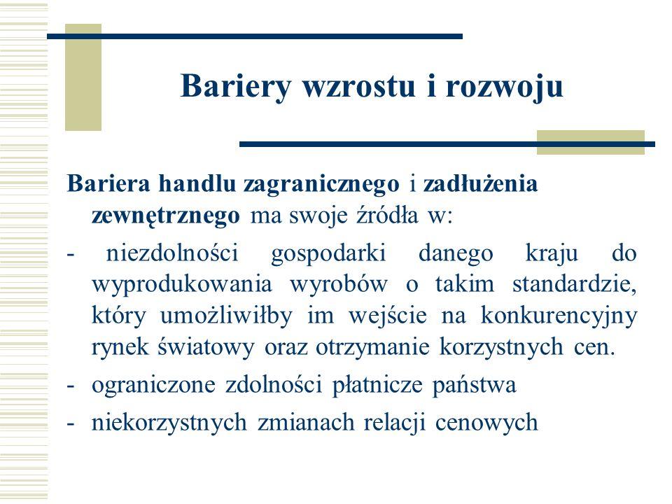 Bariery wzrostu i rozwoju Bariera handlu zagranicznego i zadłużenia zewnętrznego ma swoje źródła w: - niezdolności gospodarki danego kraju do wyproduk