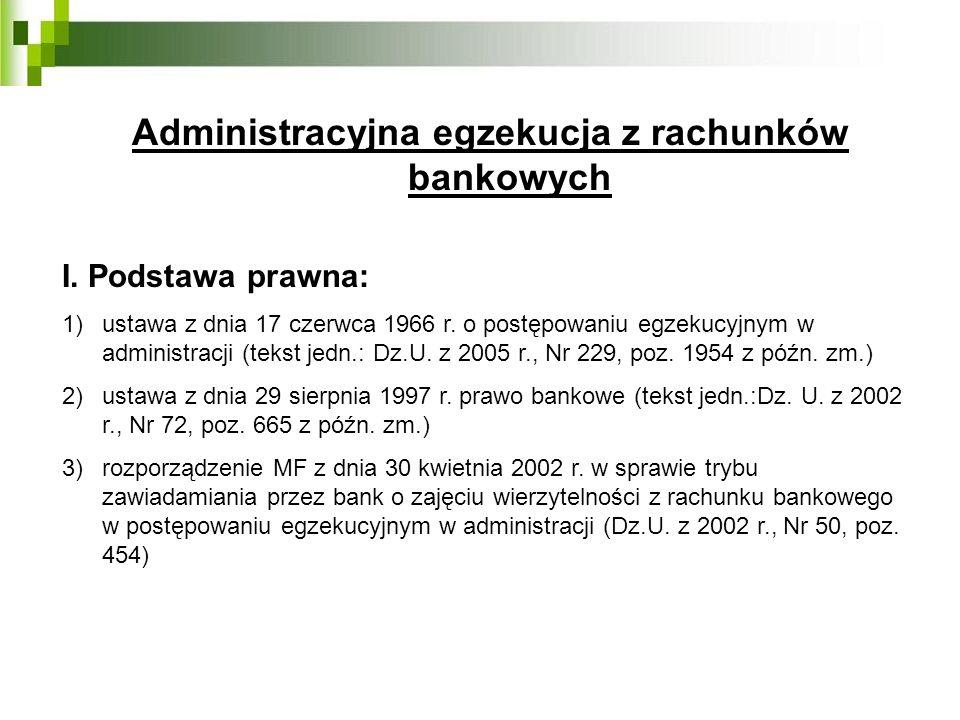 Administracyjna egzekucja z rachunków bankowych I. Podstawa prawna: 1)ustawa z dnia 17 czerwca 1966 r. o postępowaniu egzekucyjnym w administracji (te