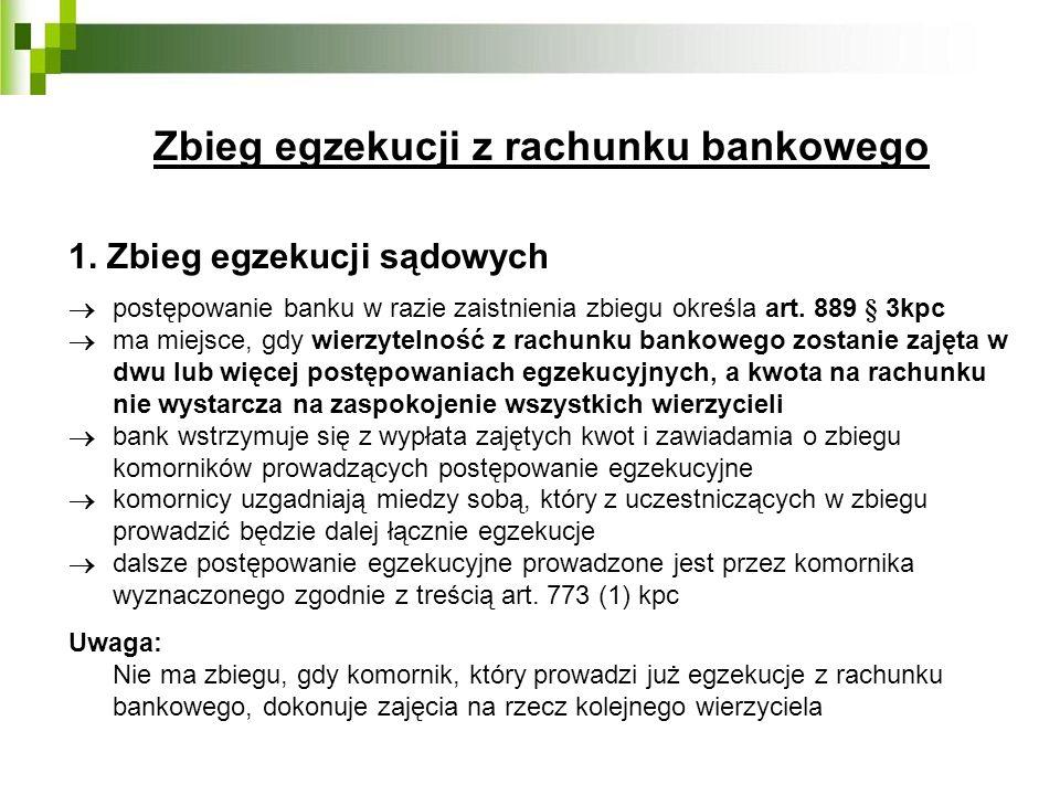 Zbieg egzekucji z rachunku bankowego 1. Zbieg egzekucji sądowych postępowanie banku w razie zaistnienia zbiegu określa art. 889 § 3kpc ma miejsce, gdy