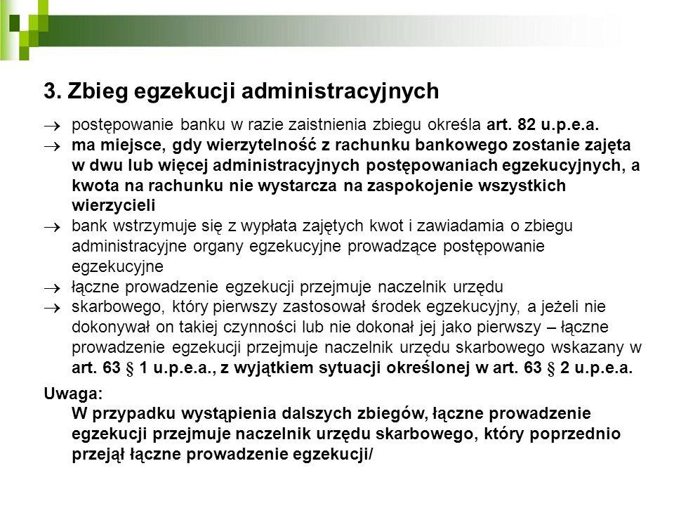 3. Zbieg egzekucji administracyjnych postępowanie banku w razie zaistnienia zbiegu określa art. 82 u.p.e.a. ma miejsce, gdy wierzytelność z rachunku b