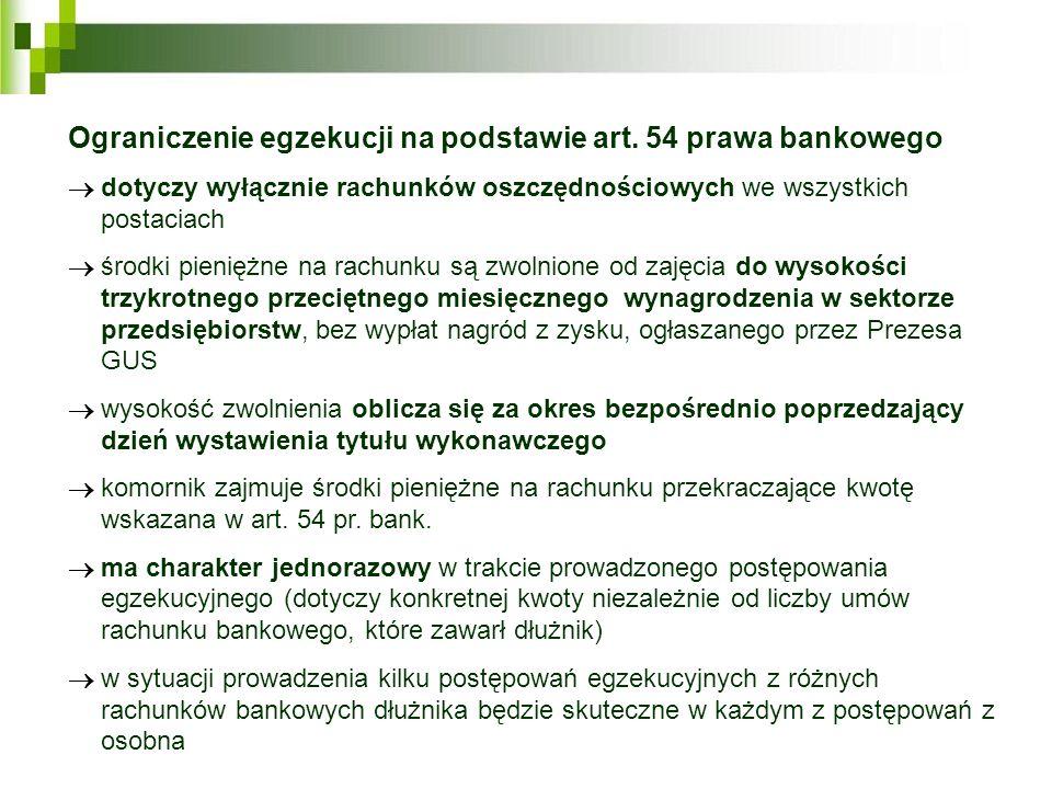 Ograniczenie egzekucji na podstawie art. 54 prawa bankowego dotyczy wyłącznie rachunków oszczędnościowych we wszystkich postaciach środki pieniężne na