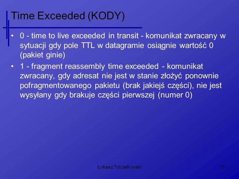 Łukasz Trzciałkowski19 Time Exceeded (KODY) 0 - time to live exceeded in transit - komunikat zwracany w sytuacji gdy pole TTL w datagramie osiągnie wartość 0 (pakiet ginie) 1 - fragment reassembly time exceeded - komunikat zwracany, gdy adresat nie jest w stanie złożyć ponownie pofragmentowanego pakietu (brak jakiejś części), nie jest wysyłany gdy brakuje części pierwszej (numer 0)