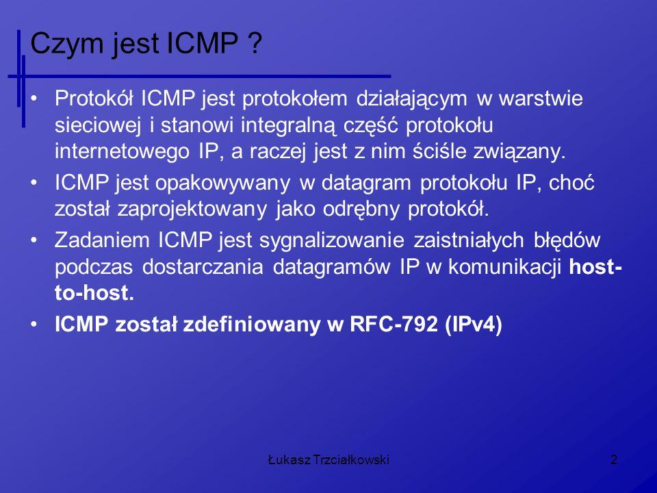 2 Czym jest ICMP ? Protokół ICMP jest protokołem działającym w warstwie sieciowej i stanowi integralną część protokołu internetowego IP, a raczej jest