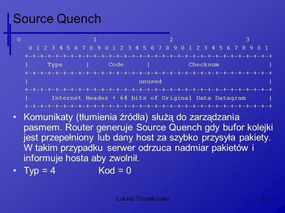Łukasz Trzciałkowski21 Source Quench 0 1 2 3 0 1 2 3 4 5 6 7 8 9 0 1 2 3 4 5 6 7 8 9 0 1 2 3 4 5 6 7 8 9 0 1 +-+-+-+-+-+-+-+-+-+-+-+-+-+-+-+-+-+-+-+-+-+-+-+-+-+-+-+-+-+-+-+-+ | Type | Code | Checksum | +-+-+-+-+-+-+-+-+-+-+-+-+-+-+-+-+-+-+-+-+-+-+-+-+-+-+-+-+-+-+-+-+ | unused | +-+-+-+-+-+-+-+-+-+-+-+-+-+-+-+-+-+-+-+-+-+-+-+-+-+-+-+-+-+-+-+-+ | Internet Header + 64 bits of Original Data Datagram | +-+-+-+-+-+-+-+-+-+-+-+-+-+-+-+-+-+-+-+-+-+-+-+-+-+-+-+-+-+-+-+-+ Komunikaty (tłumienia źródła) służą do zarządzania pasmem.