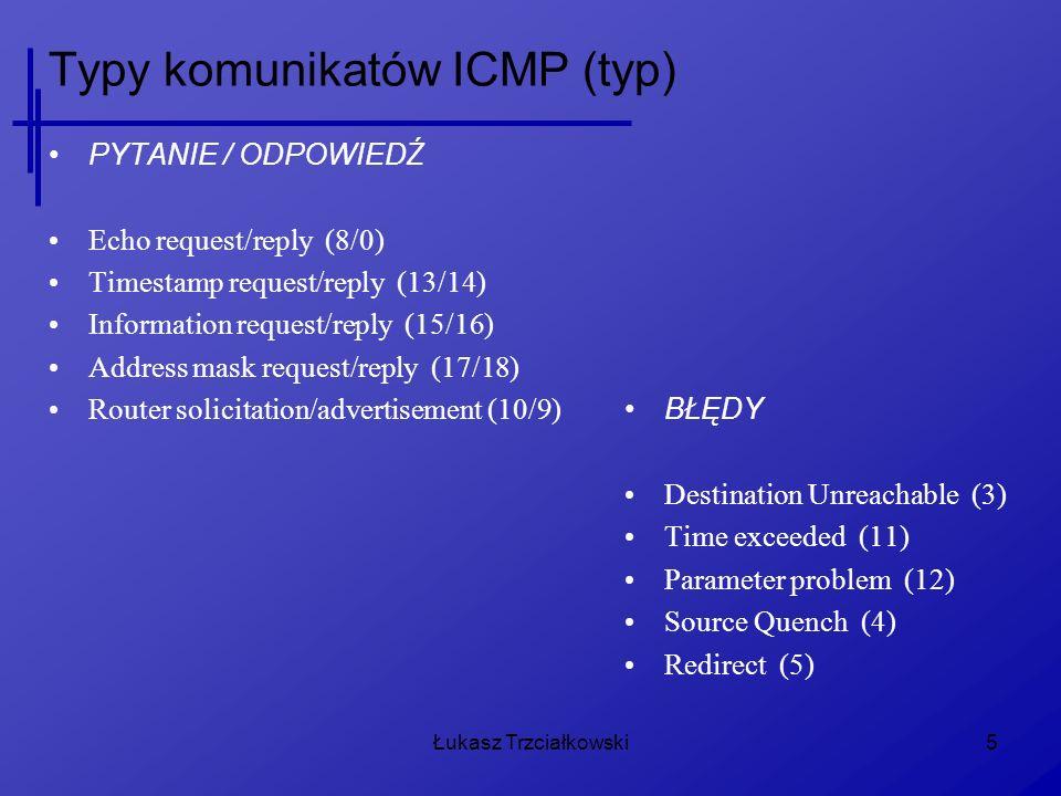 Łukasz Trzciałkowski26 Uwagi Zasypania lokalnej sieci (lokalnego hosta) dużą ilością komunikatów ICMP – nie powinno mieć miejsca Uniemożliwić komputerom spoza sieci lokalnej aby mogły sprawdzać czy lokalne hosty są osiągalne (ping) Ogólnie: Należy stosować filtrowanie ICMP Icmp_echo_ignore_all Icmp_echo_ignore_broadcast Icmp_ratelimit Icmp_ignore_bogus_error_responses Accept_redirect Ping -R / hping / traceroute