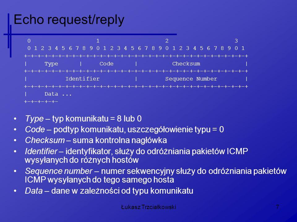 Łukasz Trzciałkowski18 Time Exceeded 0 1 2 3 0 1 2 3 4 5 6 7 8 9 0 1 2 3 4 5 6 7 8 9 0 1 2 3 4 5 6 7 8 9 0 1 +-+-+-+-+-+-+-+-+-+-+-+-+-+-+-+-+-+-+-+-+-+-+-+-+-+-+-+-+-+-+-+-+ | Type | Code | Checksum | +-+-+-+-+-+-+-+-+-+-+-+-+-+-+-+-+-+-+-+-+-+-+-+-+-+-+-+-+-+-+-+-+ | unused | +-+-+-+-+-+-+-+-+-+-+-+-+-+-+-+-+-+-+-+-+-+-+-+-+-+-+-+-+-+-+-+-+ | Internet Header + 64 bits of Original Data Datagram | +-+-+-+-+-+-+-+-+-+-+-+-+-+-+-+-+-+-+-+-+-+-+-+-+-+-+-+-+-+-+-+-+ Unused – ignorowana i nie używana część komunikatu Internet Header + 64 bits...