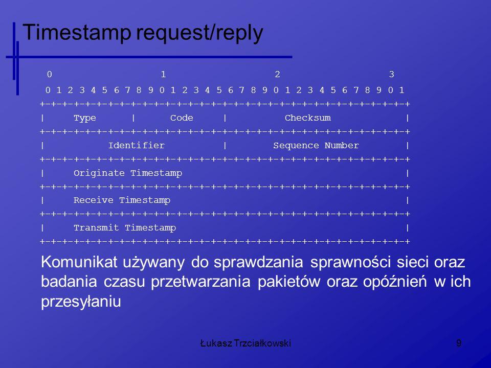 Łukasz Trzciałkowski9 Timestamp request/reply 0 1 2 3 0 1 2 3 4 5 6 7 8 9 0 1 2 3 4 5 6 7 8 9 0 1 2 3 4 5 6 7 8 9 0 1 +-+-+-+-+-+-+-+-+-+-+-+-+-+-+-+-+-+-+-+-+-+-+-+-+-+-+-+-+-+-+-+-+ | Type | Code | Checksum | +-+-+-+-+-+-+-+-+-+-+-+-+-+-+-+-+-+-+-+-+-+-+-+-+-+-+-+-+-+-+-+-+ | Identifier | Sequence Number | +-+-+-+-+-+-+-+-+-+-+-+-+-+-+-+-+-+-+-+-+-+-+-+-+-+-+-+-+-+-+-+-+ | Originate Timestamp | +-+-+-+-+-+-+-+-+-+-+-+-+-+-+-+-+-+-+-+-+-+-+-+-+-+-+-+-+-+-+-+-+ | Receive Timestamp | +-+-+-+-+-+-+-+-+-+-+-+-+-+-+-+-+-+-+-+-+-+-+-+-+-+-+-+-+-+-+-+-+ | Transmit Timestamp | +-+-+-+-+-+-+-+-+-+-+-+-+-+-+-+-+-+-+-+-+-+-+-+-+-+-+-+-+-+-+-+-+ Komunikat używany do sprawdzania sprawności sieci oraz badania czasu przetwarzania pakietów oraz opóźnień w ich przesyłaniu
