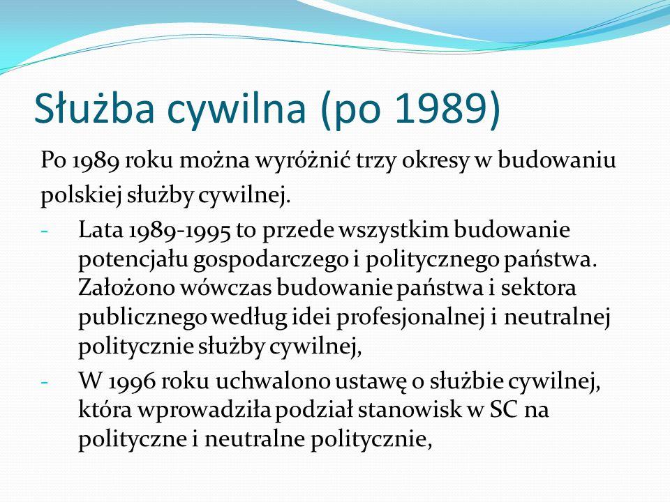 Służba cywilna (po 1989) Po 1989 roku można wyróżnić trzy okresy w budowaniu polskiej służby cywilnej. - Lata 1989-1995 to przede wszystkim budowanie