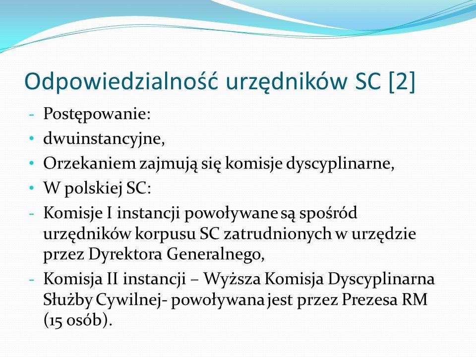 Odpowiedzialność urzędników SC [2] - Postępowanie: dwuinstancyjne, Orzekaniem zajmują się komisje dyscyplinarne, W polskiej SC: - Komisje I instancji