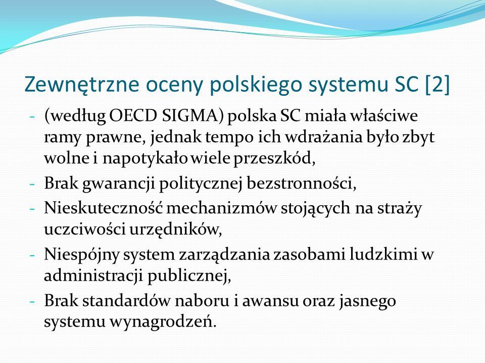 Zewnętrzne oceny polskiego systemu SC [2] - (według OECD SIGMA) polska SC miała właściwe ramy prawne, jednak tempo ich wdrażania było zbyt wolne i nap