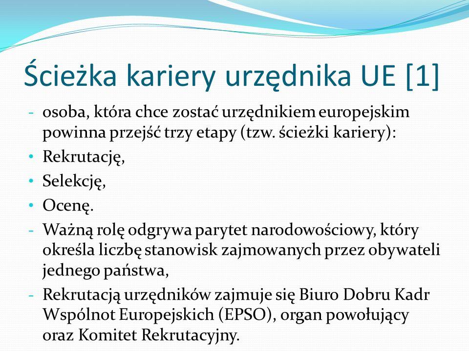 Ścieżka kariery urzędnika UE [1] - osoba, która chce zostać urzędnikiem europejskim powinna przejść trzy etapy (tzw. ścieżki kariery): Rekrutację, Sel