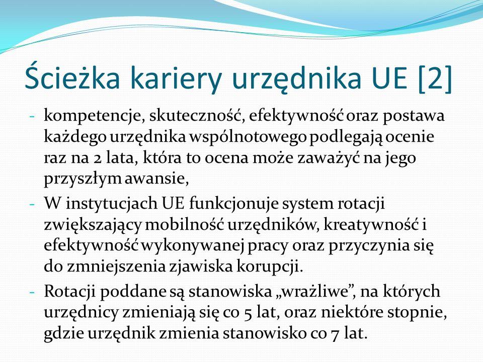 Ścieżka kariery urzędnika UE [2] - kompetencje, skuteczność, efektywność oraz postawa każdego urzędnika wspólnotowego podlegają ocenie raz na 2 lata,