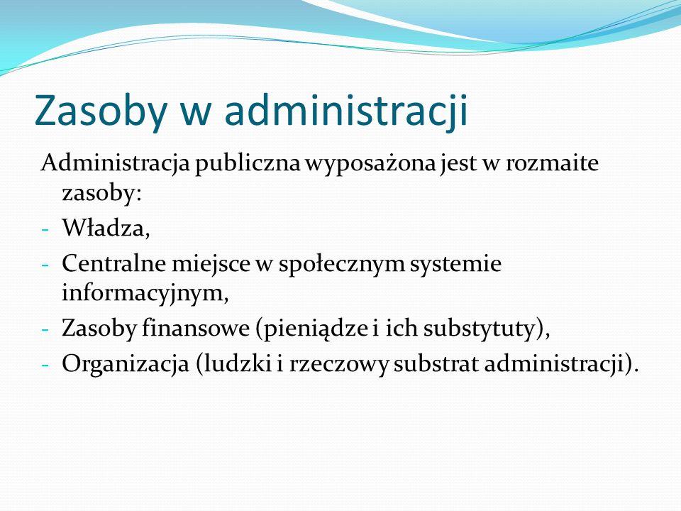 Zasoby w administracji Administracja publiczna wyposażona jest w rozmaite zasoby: - Władza, - Centralne miejsce w społecznym systemie informacyjnym, -