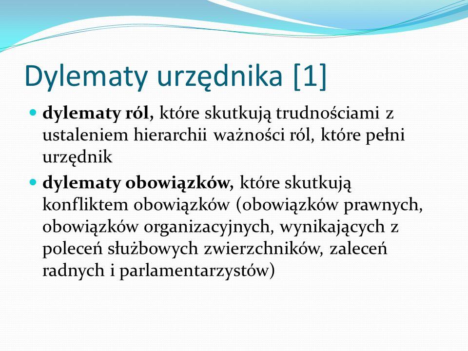 Dylematy urzędnika [1] dylematy ról, które skutkują trudnościami z ustaleniem hierarchii ważności ról, które pełni urzędnik dylematy obowiązków, które